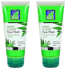 Astaberry Neem & Tulsi Face Wash (100 ml) - With Neem Extract Tulsi Basil Extract Lemon Juice (Pack Of 2)