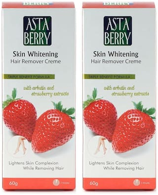 Astaberry Skin Whitening Hair Remover Cream (60 g) Pack of 2