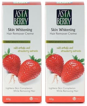 Astaberry Skin Whitening Hair Remover Cream (60 gm) Pack of 2
