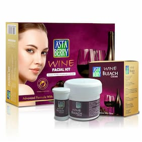 Astaberry Wine Facial Kit 5 Steps 270g With Wine Bleach 42g Anti-ageing Glowing Skin