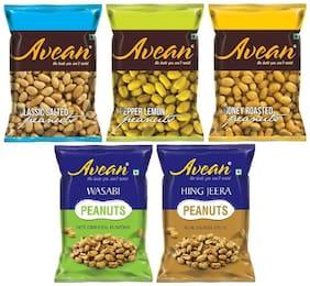AVEAN Flavored Peanuts :: Classic Salted, Lemon Pepper, Honey Roasted, Wasabi, Hing Jeera Peanuts :: Combo Pack of 5