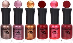 Avnoor Trendy Color Gel Nail Polish Combo Set No 1025 (Pack of 6)