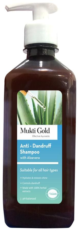 Axiom Mukti Gold Anti-Dand. Shampoo with Aloe Vera Hydrates & Restores shine Controls Dandruff Made with 100% herbal extracts pH Balanced Shampoos 500 ml (Pack of 2)