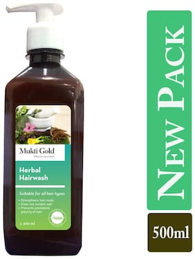 Axiom Mukti Gold Herbal Hairwash Table-top dispenser Strengthens Hair Roots Does not contain SALT Prevents Premature Greying of Hairs Shampoos 500 ml (Pack of 2)