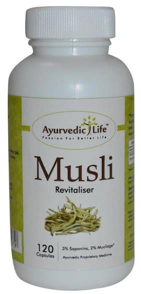 Ayurvedic Life Musli Safed Musali powder - 120 capsule 250 mg Hygenically processed capsules for Vigor and Vitality