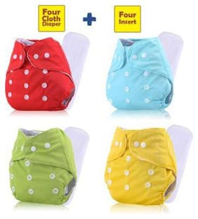 Babique Adjustable Size Reusable Baby Pocket Cloth Diapers With Inserts Combo Pack (4 Multicolor Diaper + 4 Insert)