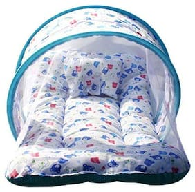 Babique Covering Sheet Printed Cotton Bedding Set;Thick Base;Foldable Mattress;Colorful Bear Shaped Frill Pillow and Mosquito Net (Pack of 1)
