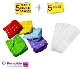 Babique washable;reusable diapers and insert to stay baby dry which is soft on baby skin (combo of 5 diaper)