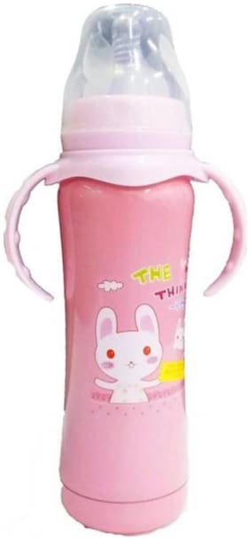 Baby Corn Double Wall Insulated Stainless Steel Anti-Colic Printed Feeding Bootle (Pink) - 240 ml