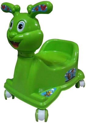 Baby Corn High Quality Baby 3 in 1 Rabbit with Walking & Sitting Chair Potty seat (Green)