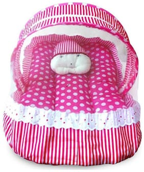 Baby Corn Mosquito Net Bed For Baby Magenta