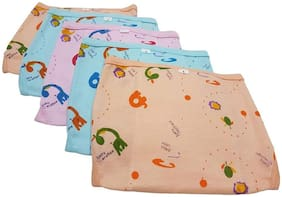 Baby Corn Reusable U Shape Cushioned/Padded Cotton Hosiery Nappies ( Pack of 5 )