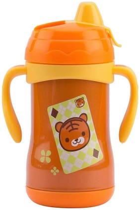 Baby Corn Thermal Insulation Stainless Steel Water And Milk Baby Feeding Sipper Bottle 180ml(Orange)