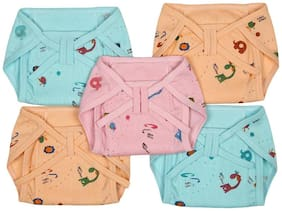 Baby Shopieee Baby Cotton Padded U Shape Nappies Diaper Reusable   Pack of 5 pcs (Multi Color, 3-6 Months) Print & Color May Vary