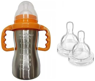 Baby Shopiieee Baby 2 in 1 Stainless Steel Baby feeding Bottle;Orange (Pack of 1)