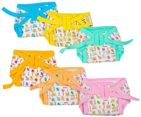 Baby Shopiieee Baby Nappies Colored - Pack Of 6 Multicolor