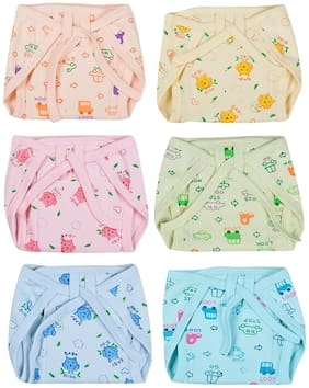 Baby Shopiieee Cushioned Cotton Nappies Combo (Pack of 6) - (0-3 Month) Print & color May Vary
