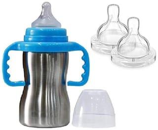 Baby Shopiieee Baby 2 in 1 Stainless Steel Baby Feeding Bottle;Blue (Pack of 1)