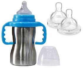 Baby Shopiieee Baby 2 in 1 Stainless Steel Baby Feeding Bottle;Blue (Pack of 1)