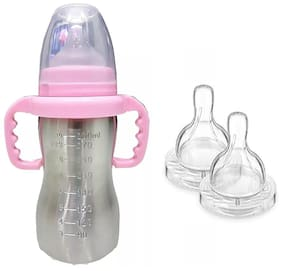 Baby Shopiieee Baby 2 in 1 Stainless steel Baby feeding Bottle;Pink (Pack of 1)