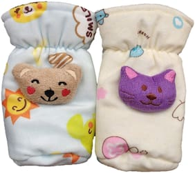 BABY SHOPIIEEE Newborn baby Feeding Bottle Cover With Soft & Attractive Fancy Cartoon Set of 2 Colors & Designs (125-150 ML)