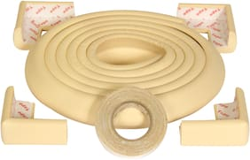 BabySafeHouse Baby Safety Kit for child proofing 1 pc 2 metre Furniture Edge Guard Strip/Foam with strong Spun Glass Mesh Tape and 4 Pieces Pre-Taped Corner Guards (Beige Color)