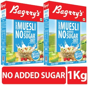 Bagrry's Crunchy Muesli No Added Sugar - 500 g Box (Pack of 2)
