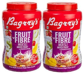 Bagrry's Fruit N Fibre Mix Fruit Muesli 1 kg Jar- Pack of 2