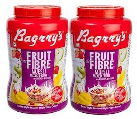 Bagrry's Fruit N Fibre Mix Fruit Muesli 1 kg Jar- Pack of 2