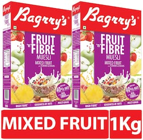Bagrry's Fruit N Fibre Muesli, Mixed Fruit - 500 Gm Box (Pack of 2)