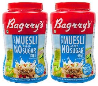 Bagrry's No Added Sugar Muesli 1 kg Jar- Pack of 2