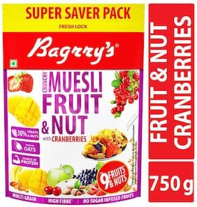 Bagrrys Crunchy Muesli Fruit N Nut;Cranberry Pouch 750gm