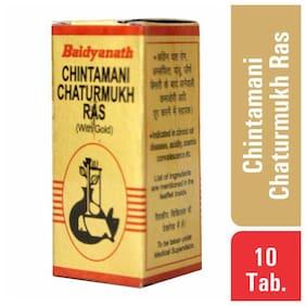 Baidyanath Chintamani Chaturmukh Ras with Gold 10 Tablets (Pack of 1)