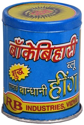 Bankey Bihari Blue Bandhani Hing Powder (Compounded Asafoetida /Heeng)  - 200g Hing (10 x 20g)