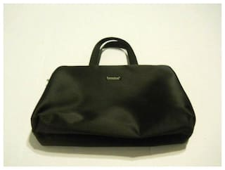 Basics Black Cosmetic Jewelry Toiletry Bag Travel Bag With Handles Zips Snaps