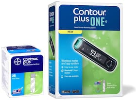 Bayer Contour Plus One Blood Glucose Monitoring System Glucometer with 25 Free Strips (Pack of 1)
