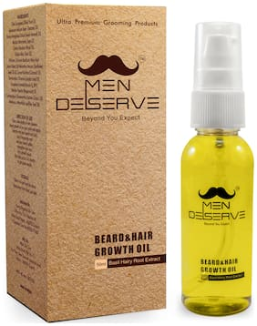 MEN DESERVE Beard & Hair Growth Oil (Basil Hairy Root Extract)
