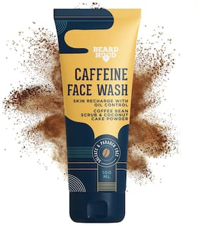 Beard hood Caffeinated Face Wash Cleanser With Coffee Bean Extract & Coconut Cake Powder (Sulfate & Paraben Free),100 ml