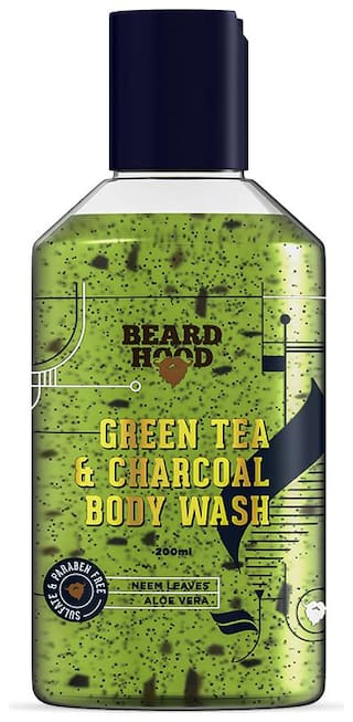 Beard hood Green Tea & Charcoal Body Wash For Men with Activated Charcoal Beads and Neem Leaves Sulfate & Paraben Free 200ml