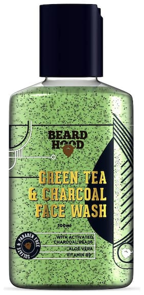 Beard hood Green Tea & Charcoal Face Wash For Man with Activated Charcoal Beads,Vitamin B9 and Aloe Vera,SLS & Paraben Free,100ml