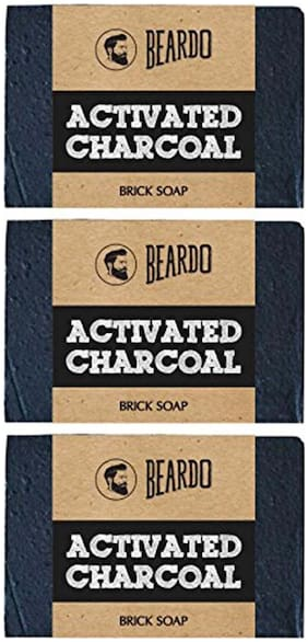Beardo Activated Charcoal Brick Soap - 125 g (Set of 3)