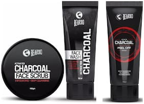 Beardo Activated Charcoal Combo (Peel Off Mask Face Wash Face Scrub) Pack Of 3