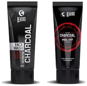 Beardo Activated Charcoal Peel off Mask 100 g And Beardo Activated Charcoal Acne Oil And Pollution Control Face Wash 100 ml Combo