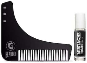 Beardo Beard Shaping And Styling Tool Comb & Beardo Mustache Growth Roll On Combo