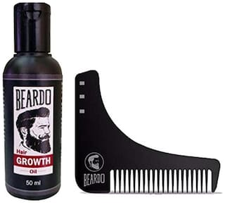 Beardo Beard And Hair Growth Oil (50 ml) And Beardo Beard Shaping And Styling Tool Comb Combo.