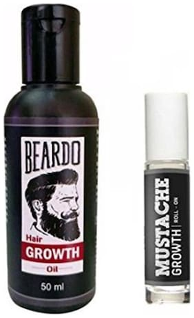 Beardo Beard And Hair Growth Oil 50 ml & Beardo Mustache Growth Roll On Combo.