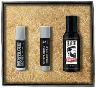 Beardo Beard & Hair Growth Oil 50 ml - Moustache Growth Roll On & Moustache Wax Stick Combo Pack of 3