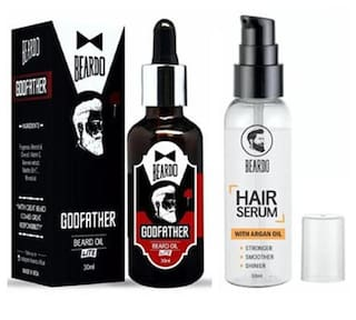 Beardo Godfather Lite Beard & Mustache Oil - 30 ml &Beardo Hair Serum With Argan Oil - 50 ml Combo