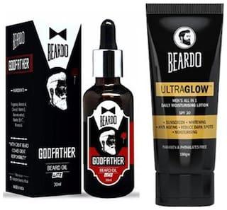 Beardo Godfather Lite Beard & Mustache Oil - 30 ml &Beardo Ultraglow Face Lotion For Men - 100 gm Combo