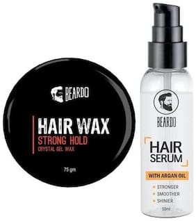 Beardo Hair Wax - Strong Hold (75 g ) And Beardo Hair Serum Oil (50 ml ) Combo